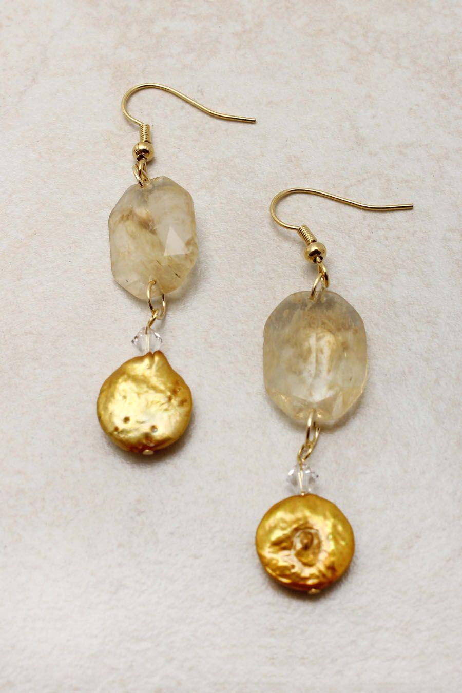 Champagne Pearl Sabine Earrings | Emma Stine Jewelry Set
