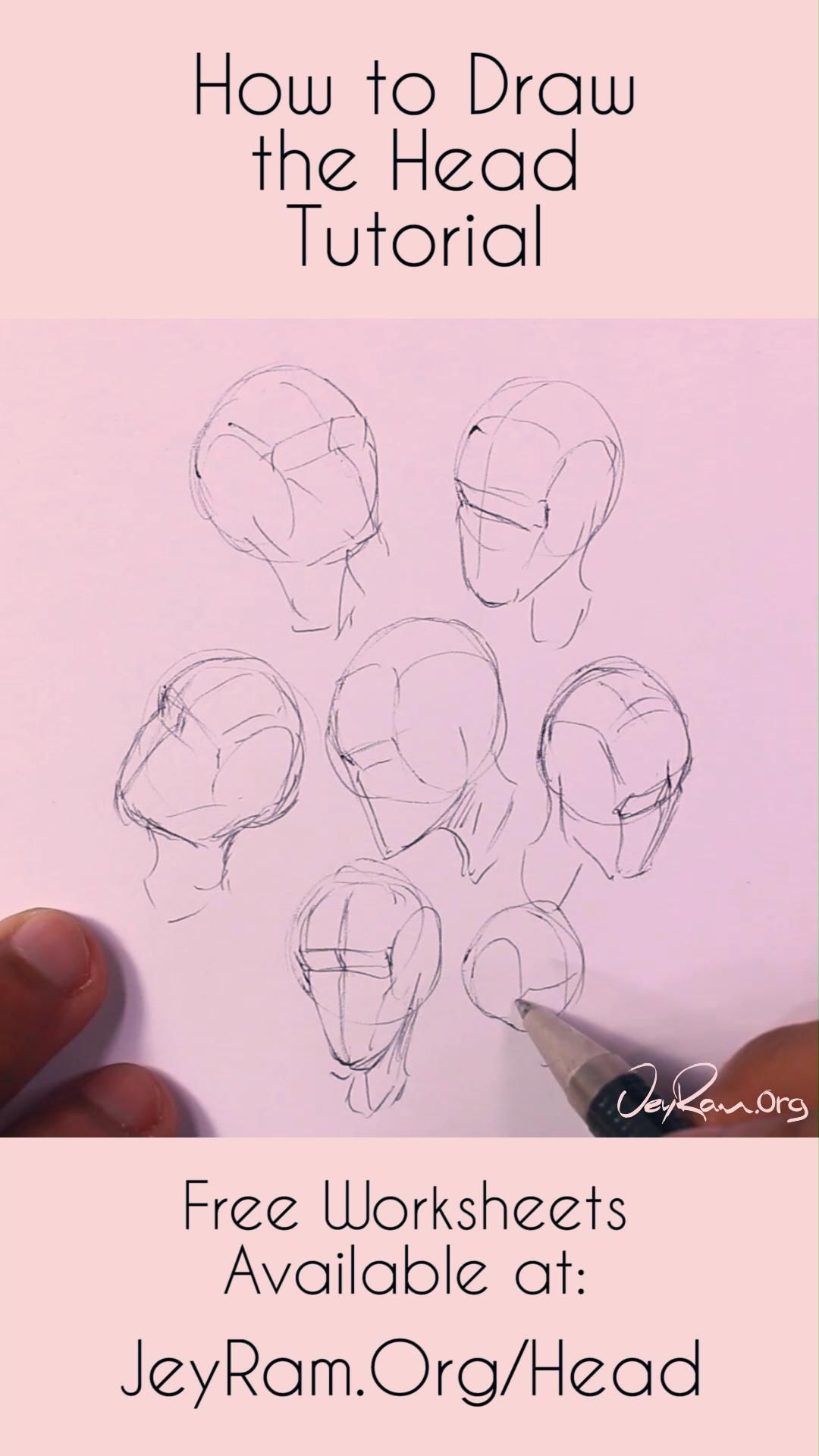 Learn how to draw the human head using this step by step process made for beginners. Grab the free worksheets on the website and learn how to draw the head from any angle by developing a deep understanding of the structure. Drawing human anatomy is immensely satisfying and these free worksheets will help you make quick progress! #tutorial #drawing #draw #howtodraw #anatomy #illustration #art #artist
