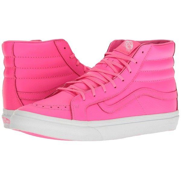 4e7382bc28 Vans SK8-Hi Slim ((Neon Leather) Neon Pink True White) Skate Shoes ...