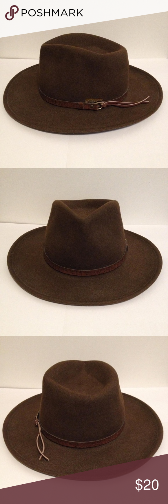 Indiana Jones Brown Fedora Wool Hat Small In Good Condition Just A Small Blemish Shown In 5th Photo Please See All Photos And Wool Hat Fedora Indiana Jones