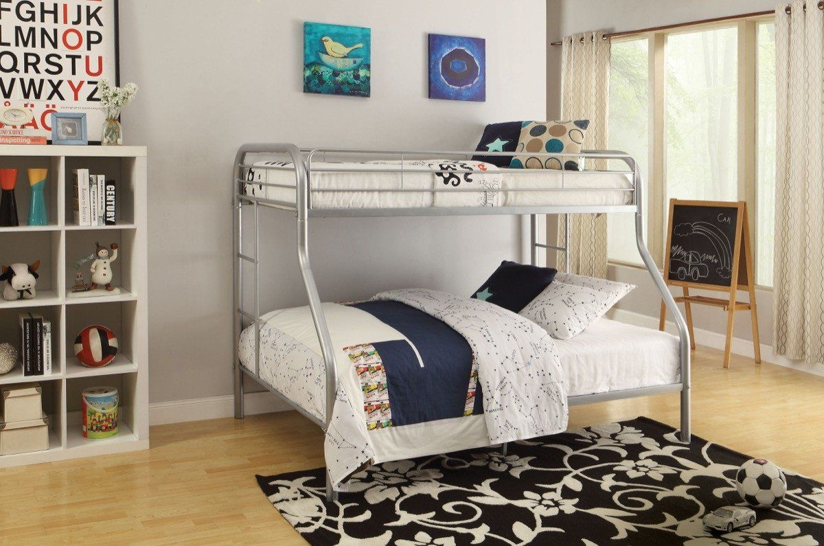 Loft bed with desk pottery barn  ACME Tritan TwinFull Bunk Bed Silver  SI  Twin full bunk bed