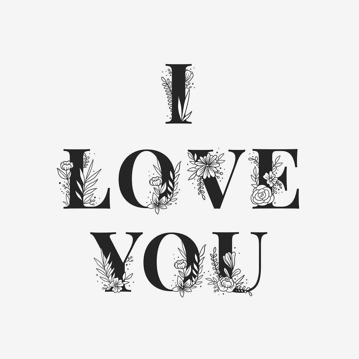 Download I Love You feminine typography word lettering and ...