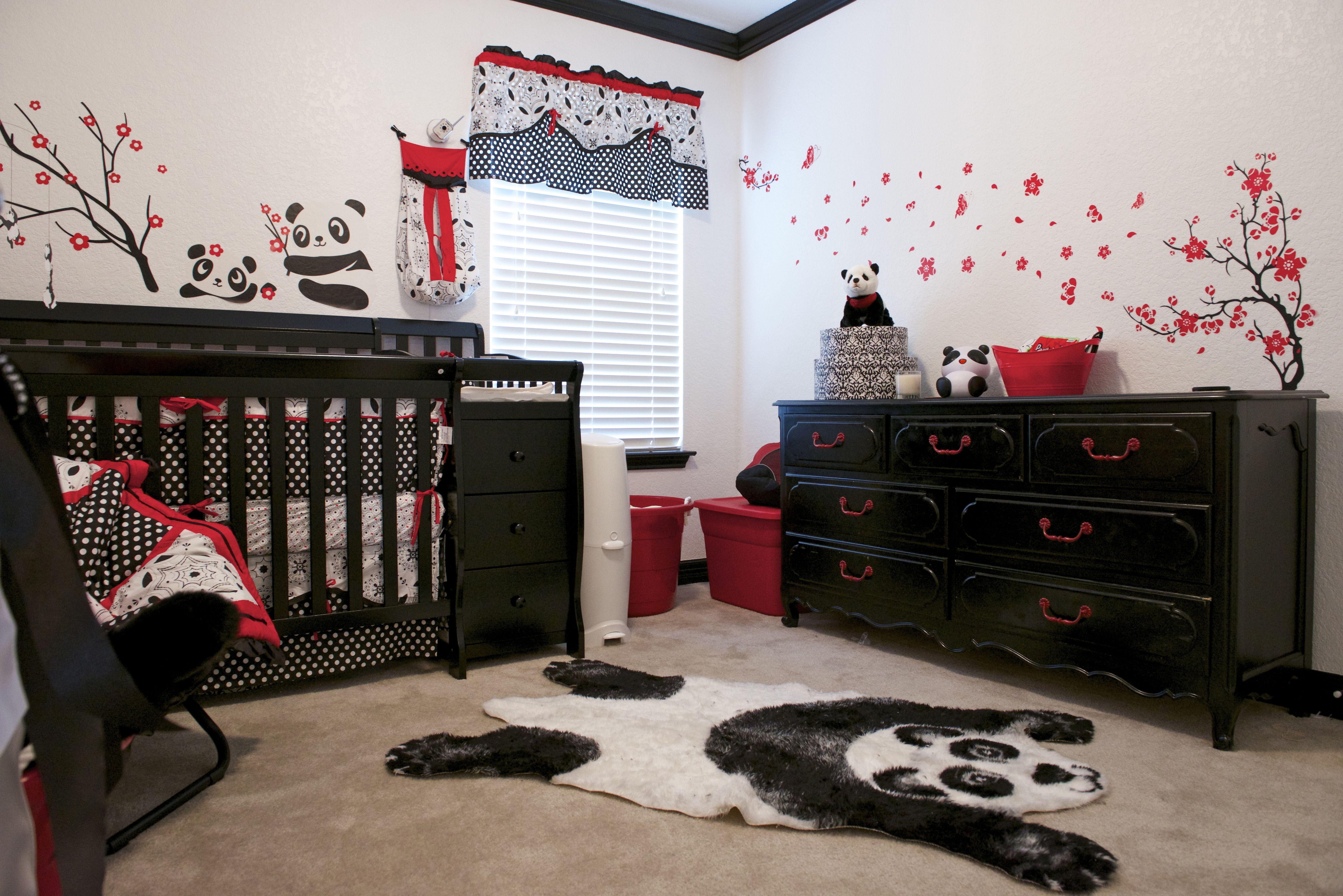 Panda Baby Room Black White And Red Baby Girl Room Themes Girl Nursery Room Girly Room