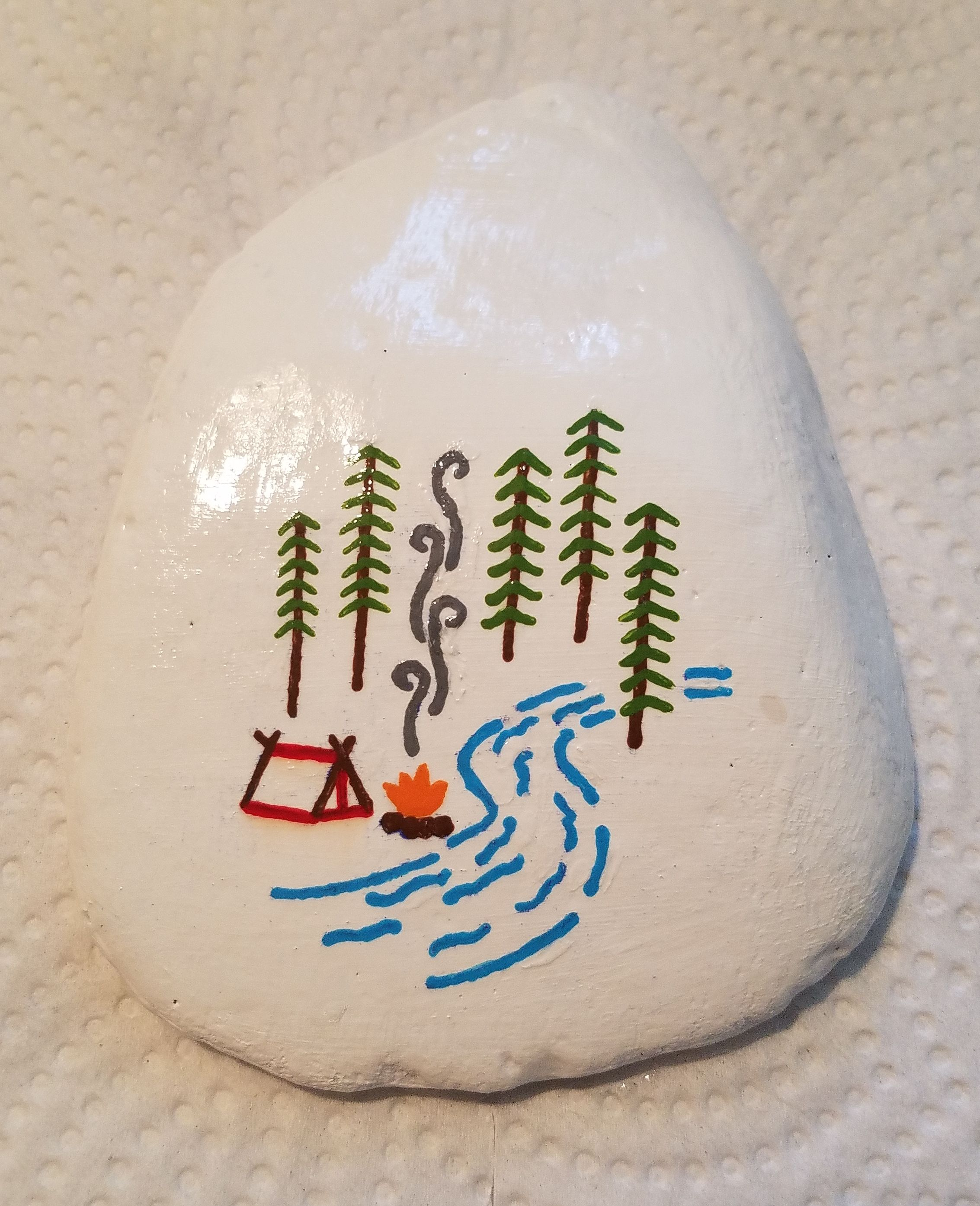 Colorful Camping Scene (Painted Rock) | Painted by Susan Morrow 2017