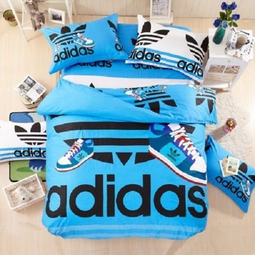 Twin Queen Size Blue Adidas Duvet Cover Bedding Set Boys Girls