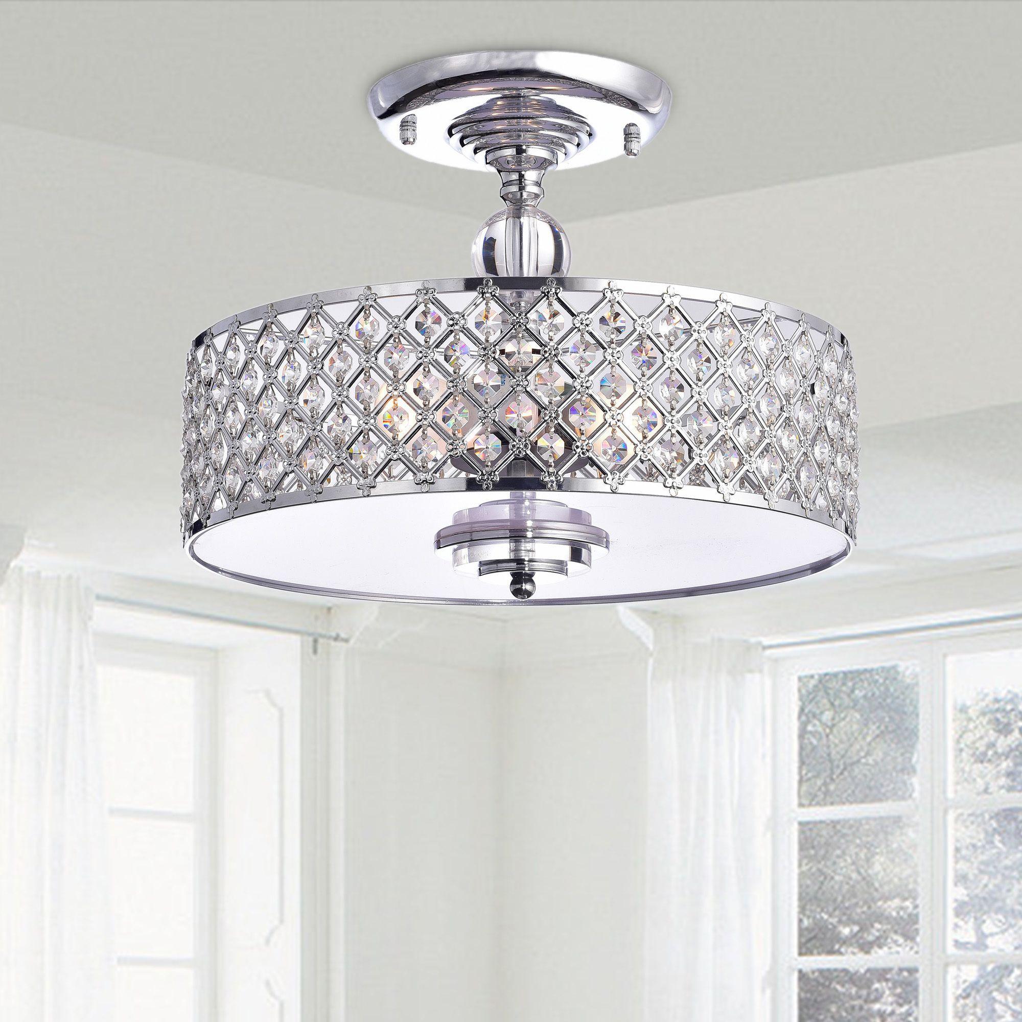 The martina chrome finish crystal light flush mount chandelier