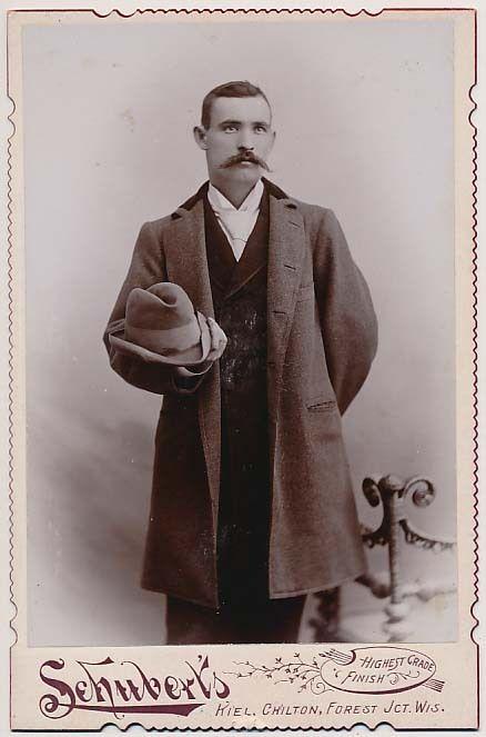 Handsome Mustache Man in Dapper Fashion Coat Hat Vtg Cabinet Photo.