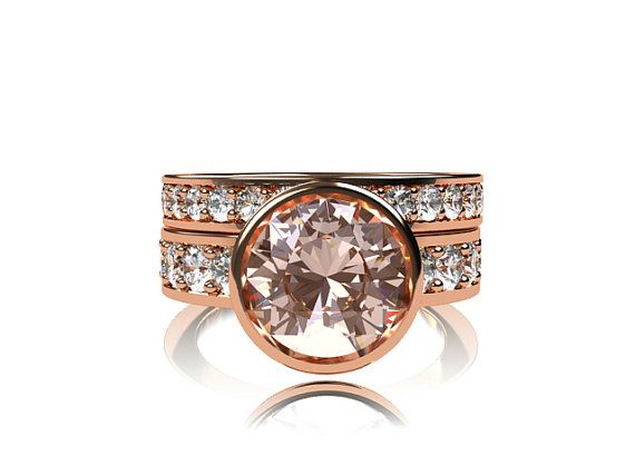 Engagement ring set, rose gold, Morganite ring, white sapphire, engagement ring, peach morganite, wedding band, engagement set, bezel  $3,699.00