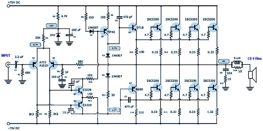 400 watt 70 volt amplifier for home audio system based on power transistor 2sc5200 scheme. Black Bedroom Furniture Sets. Home Design Ideas