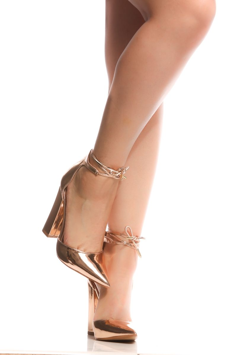 11ae50d51f4 Rose Gold Faux Leather Chunky Pointed Toe Heels   Cicihot Heel Shoes online  store sales Stiletto Heel Shoes