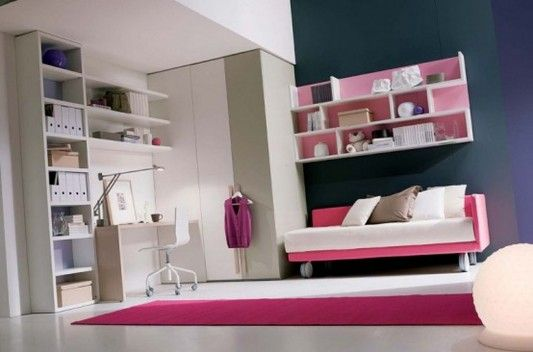 modern minimalist teenage girl bedroom with study room design ideas