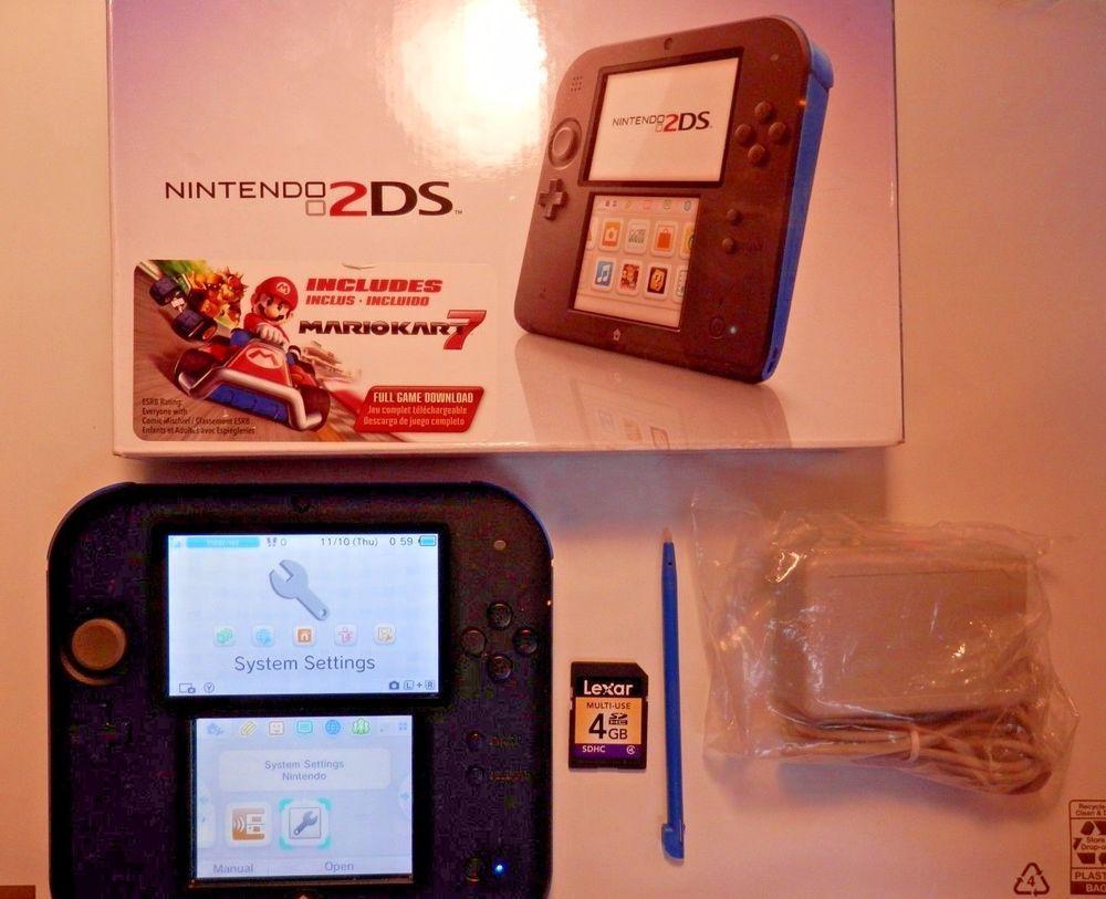 Nintendo 2DS Blue/Black W/ MarioKart 7, Pokemon Red, 4GB SD