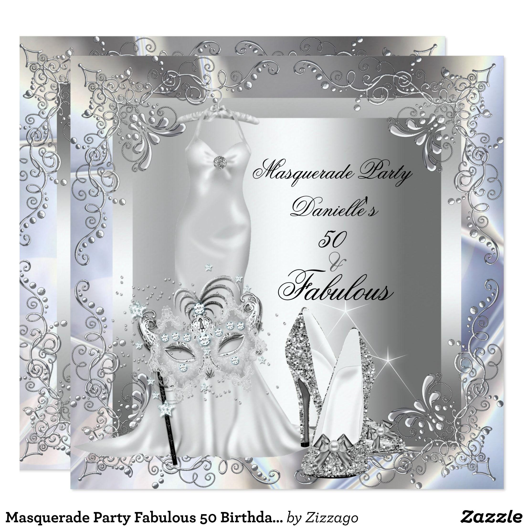 Masquerade Party Fabulous 50 Birthday Silver Card | 40th BIRTHDAY ...
