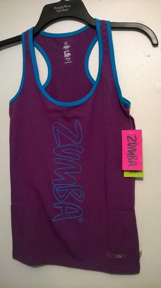 Women's Purple Zumba Workout Rock With Me Racerback Top Cut'n Paste Sz S - NWT #Zumba #ShirtsTops