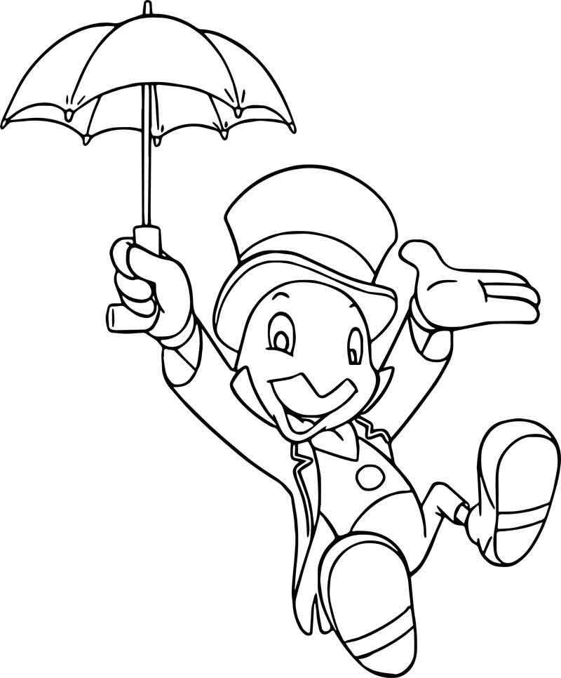 Pinocchio Jiminy Cricket Umbrella Coloring Page Umbrella