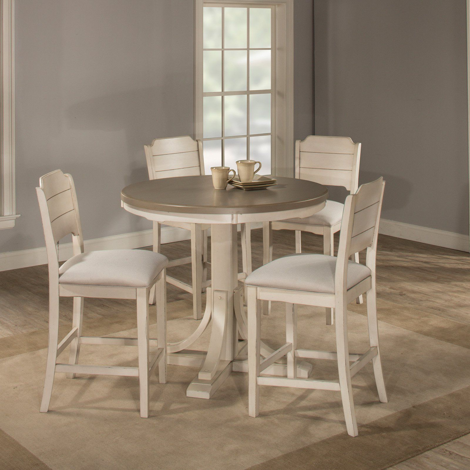 Hillsdale Clarion 5 Piece Round Counter Dining Set With Open Back