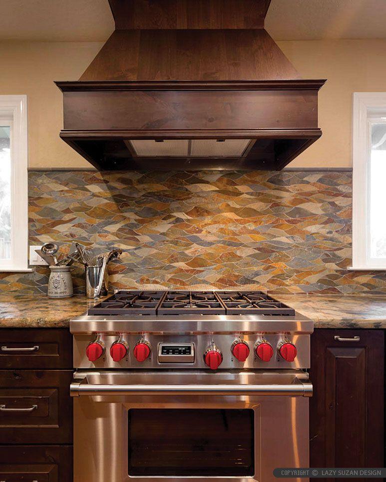 Stupendous Waterjet Brown Gray Slate Backsplash Ideas Kitchen Slate Home Remodeling Inspirations Genioncuboardxyz