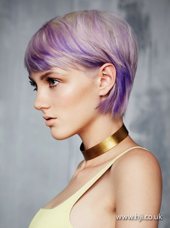 2013 White Short Purple Flashes Hairstyle Gallery Short Hair Styles Purple Highlights Blonde Hair Lavender Hair