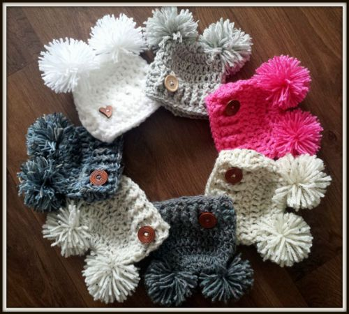 Crochet pompom hats photo prop gift baby shower size newborn choice ...