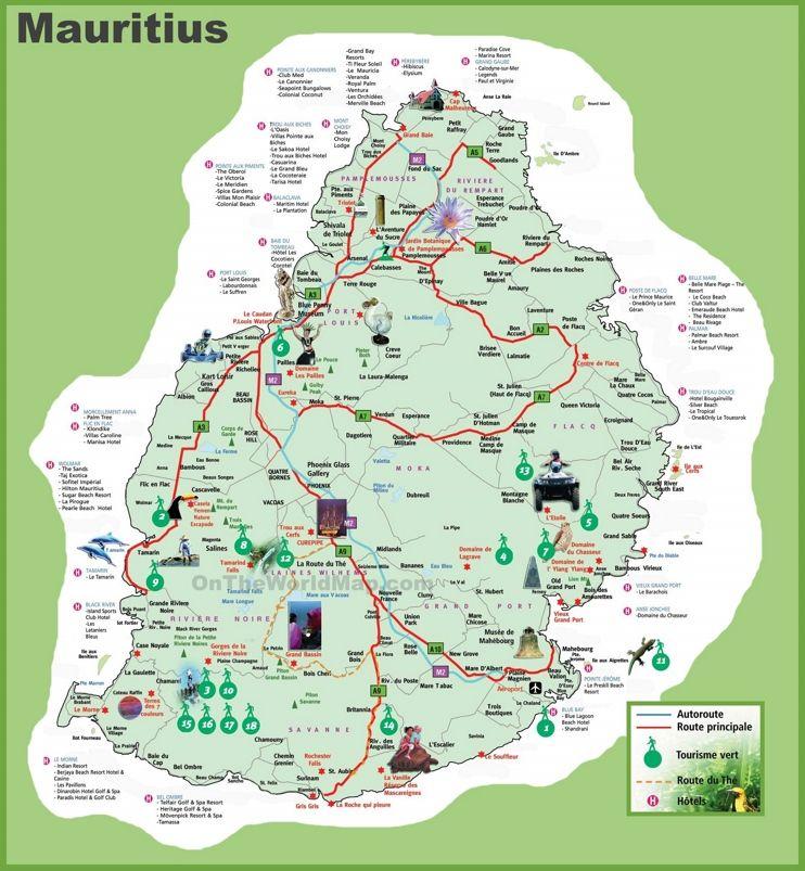 Mauritius hotel map Travelling Cestov225n237 Viaje v