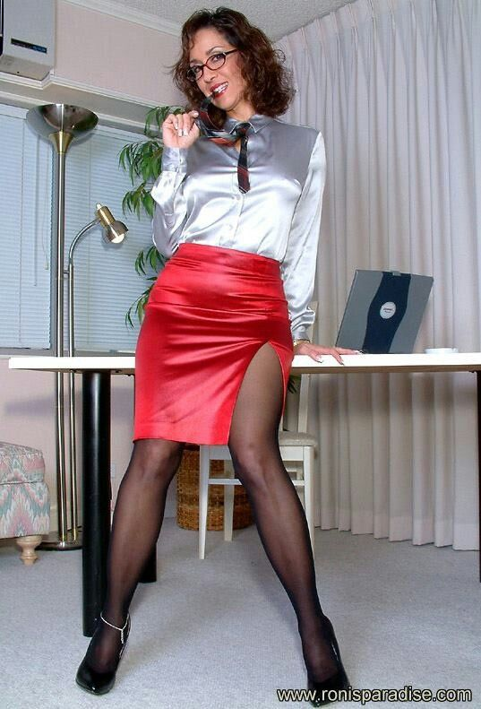7d57007f37 Red Satin Pencil Skirt White Satin Blouse Sheer Black Pantyhose and Black  High Heels
