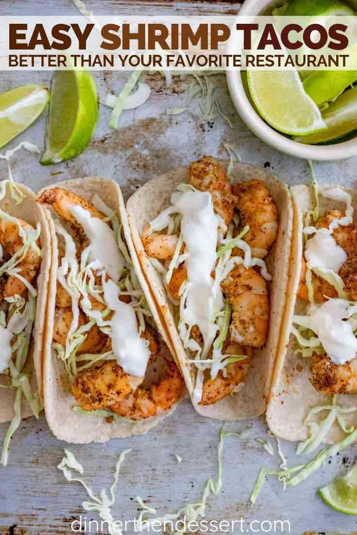 Shrimp tacos made with taco seasoning and topped with cabbage and sour cream are a quick and easy dinner that is perfect for healthy weeknight meals!