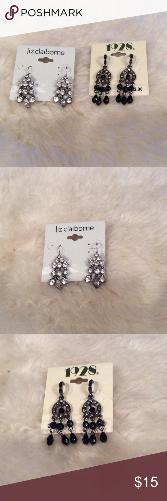 2 pairs of chandelier earrings Liz Claiborne silver rhinestone ...