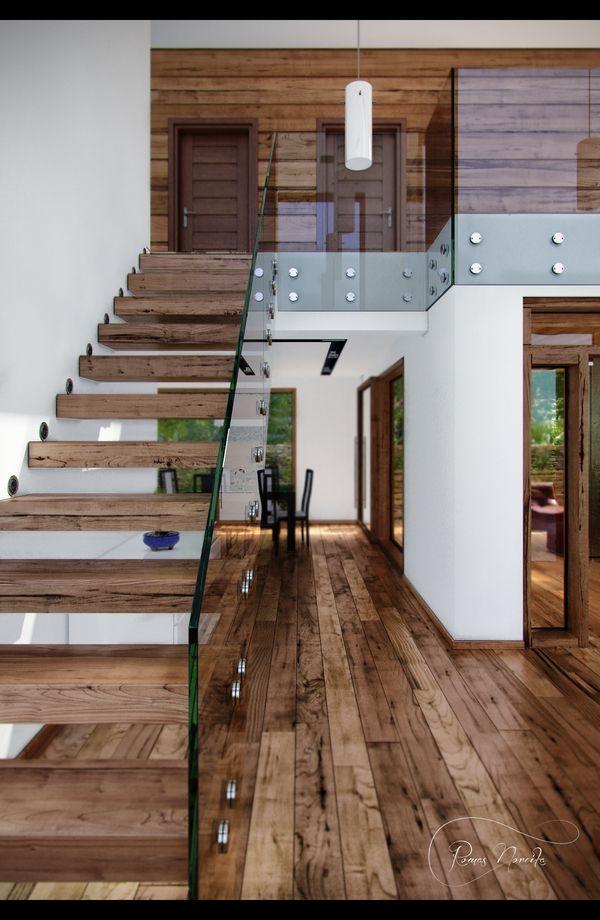 Modern Interior By Evo Via Behance I Love The White And Wood Contrast Really Close To What I Want Beauti Exterior Moderno Design De Escada Estilos De Casa