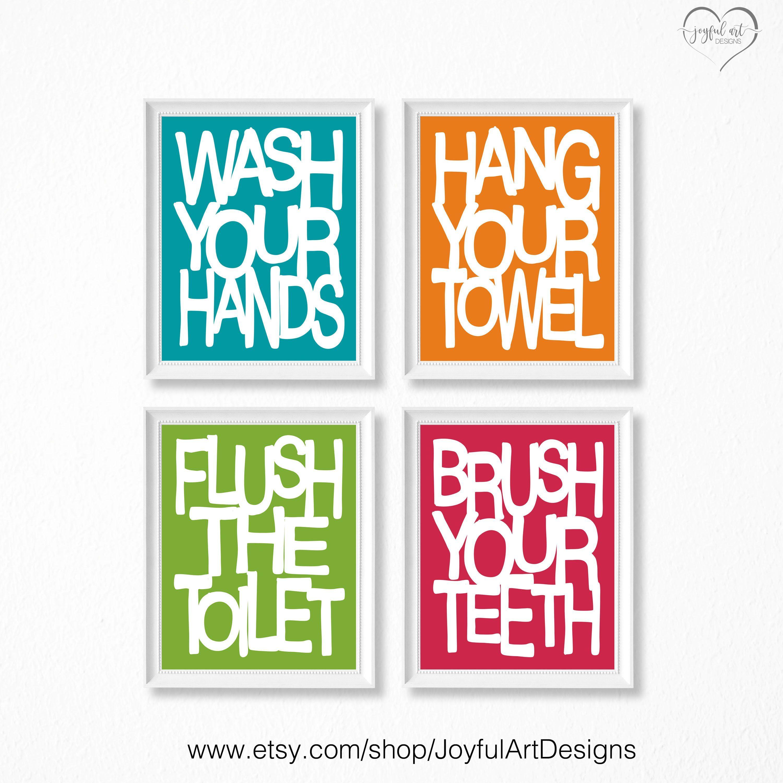Kids Bathroom Wall Art Bathroom Rules Printables Brush Wash Flush Hang Prints Bathroom Signs Decor Set Of 4 8x10 Digital Files Bathroom Wall Art Bathroom Rules Bathroom Signs