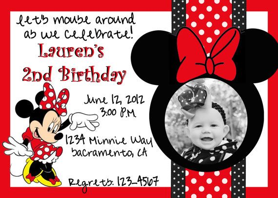 Custom Red Minnie Mouse Birthday Invitation By SweetAshlynDesigns