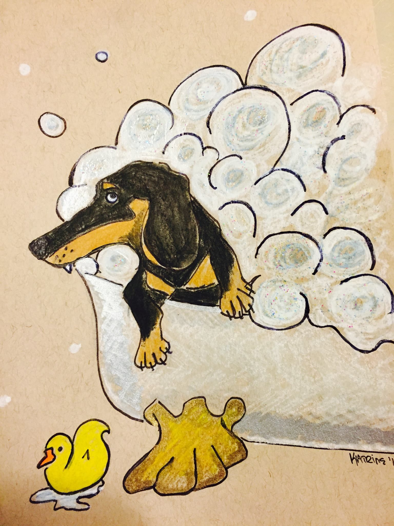 Dachshund Wiener Dog In Bathtub Bathroom Art Drawing Illustration