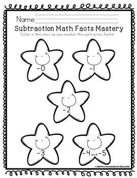 Kindergarten Subtraction Fact Fluency Student Charts