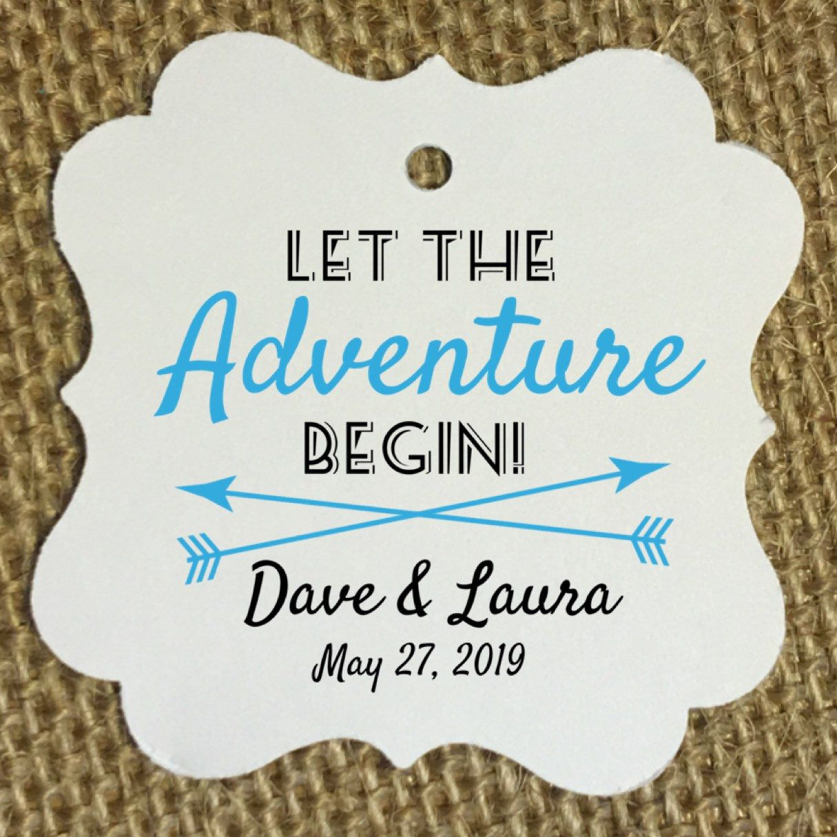 Wedding favor tags, let the adventure begin, trail mix, trail mix ...