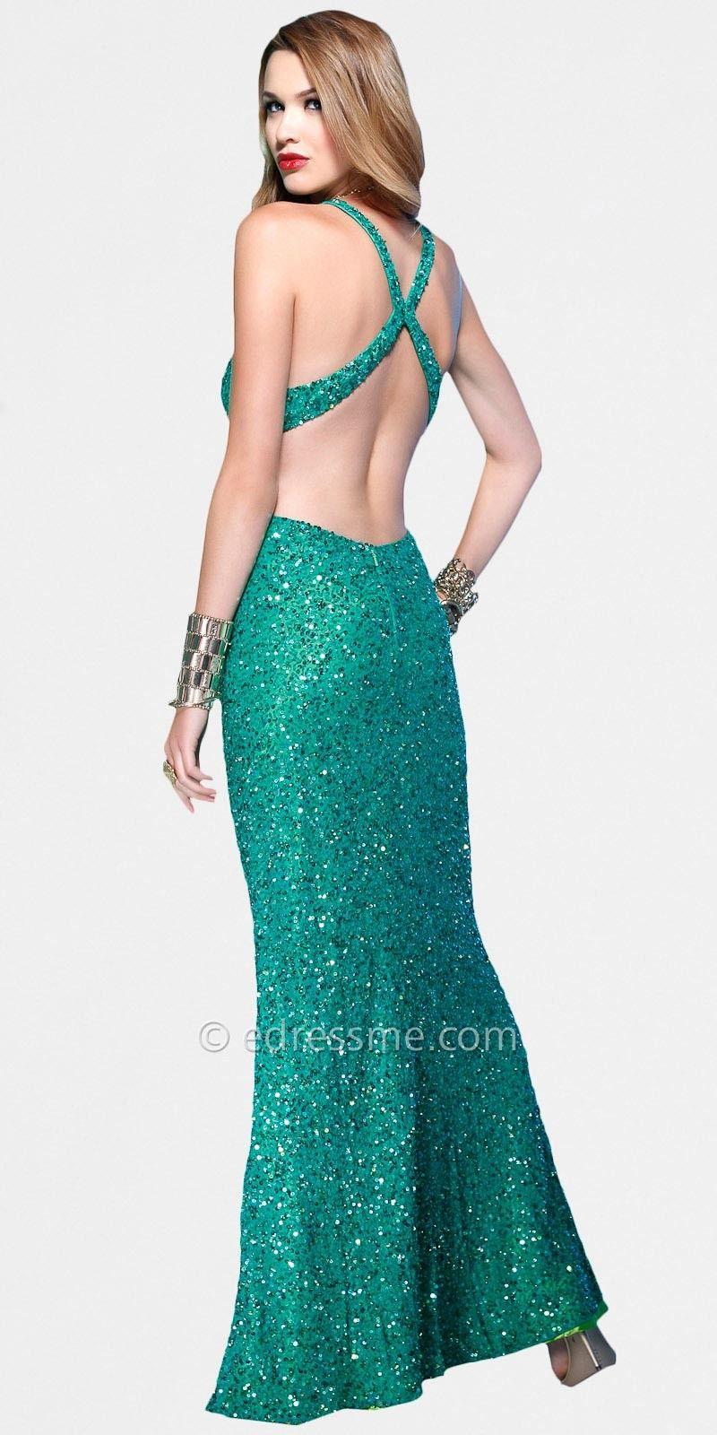 Blue sequin halter prom dress