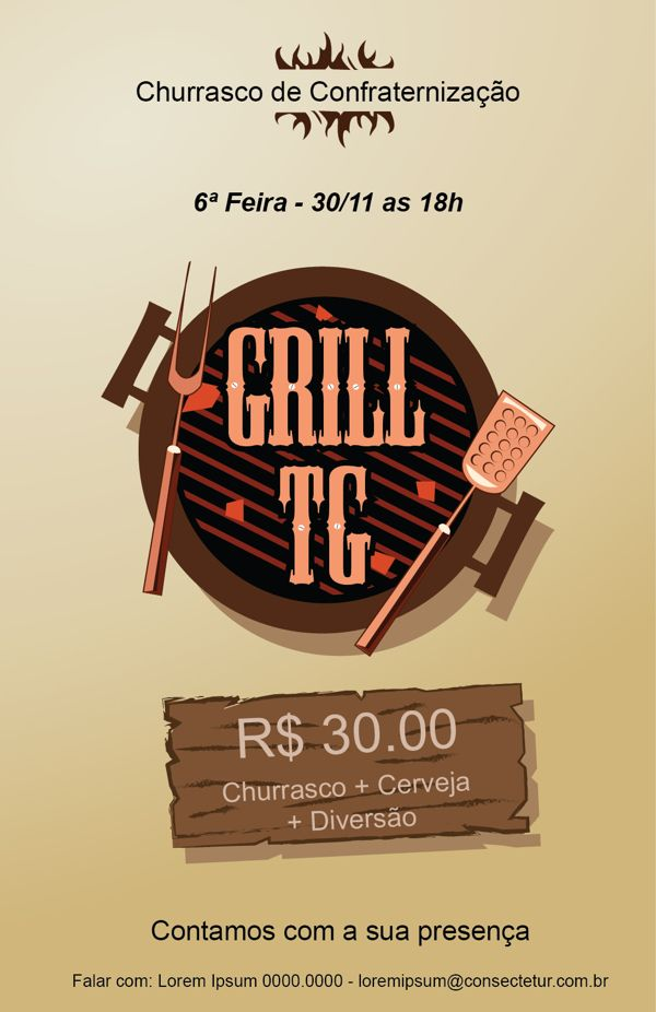 Convite Para Churrasco De Confraternização Grill Tg My Work