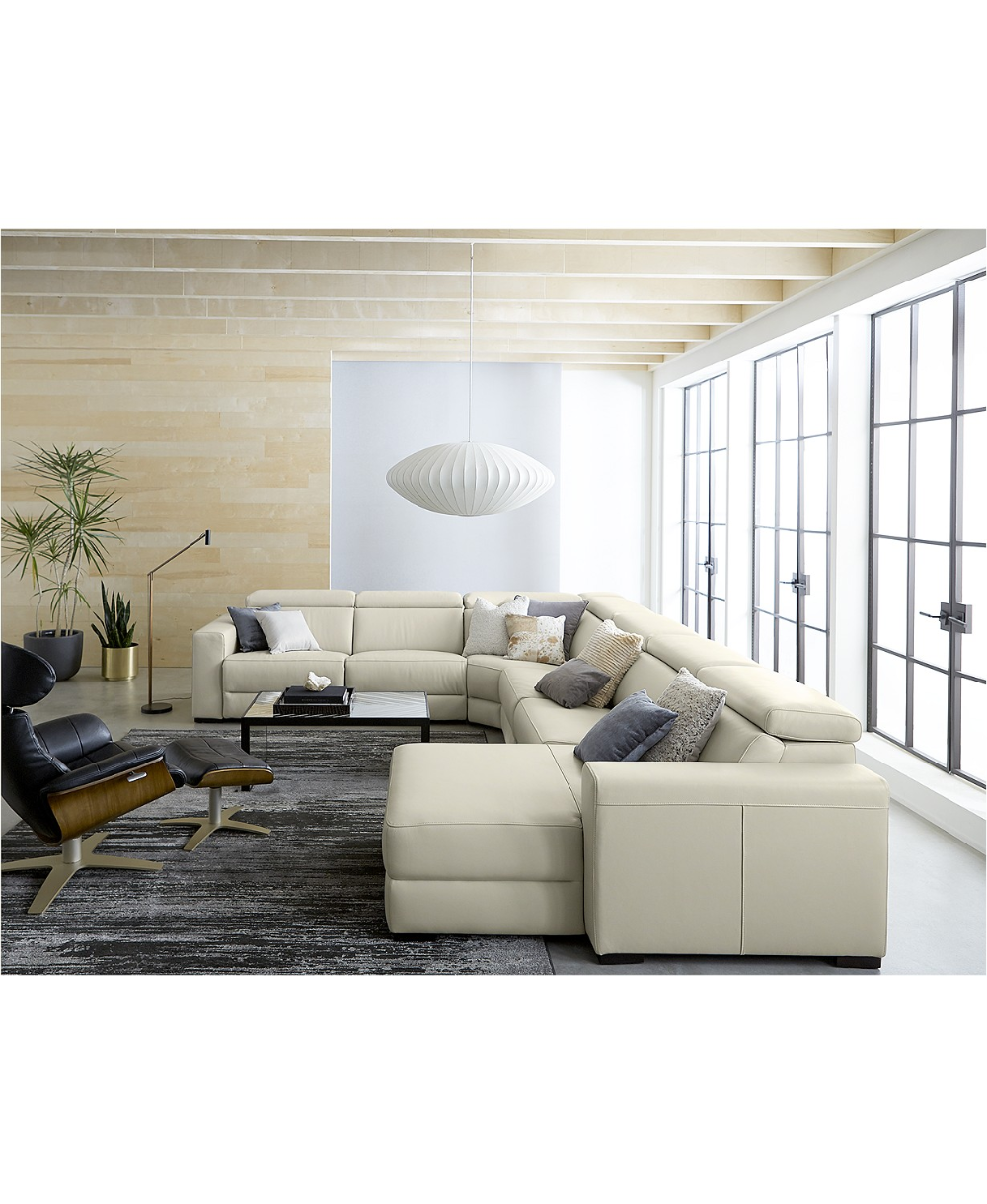 Furniture Nevio 5 Pc Leather Sectional Sofa With Chaise Leather Couches Living Room Power Reclining Sectional Sofa