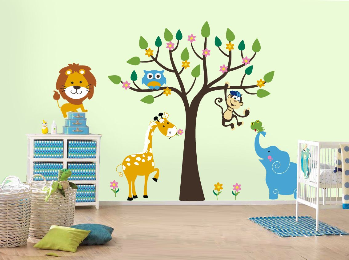 Google afbeeldingen resultaat voor httpthefinishedboxwp white themed amazing kids wall decor ideas with beautiful tree wall decals complete with the leaf that have monkey sticker also cool blue elephant wall amipublicfo Gallery