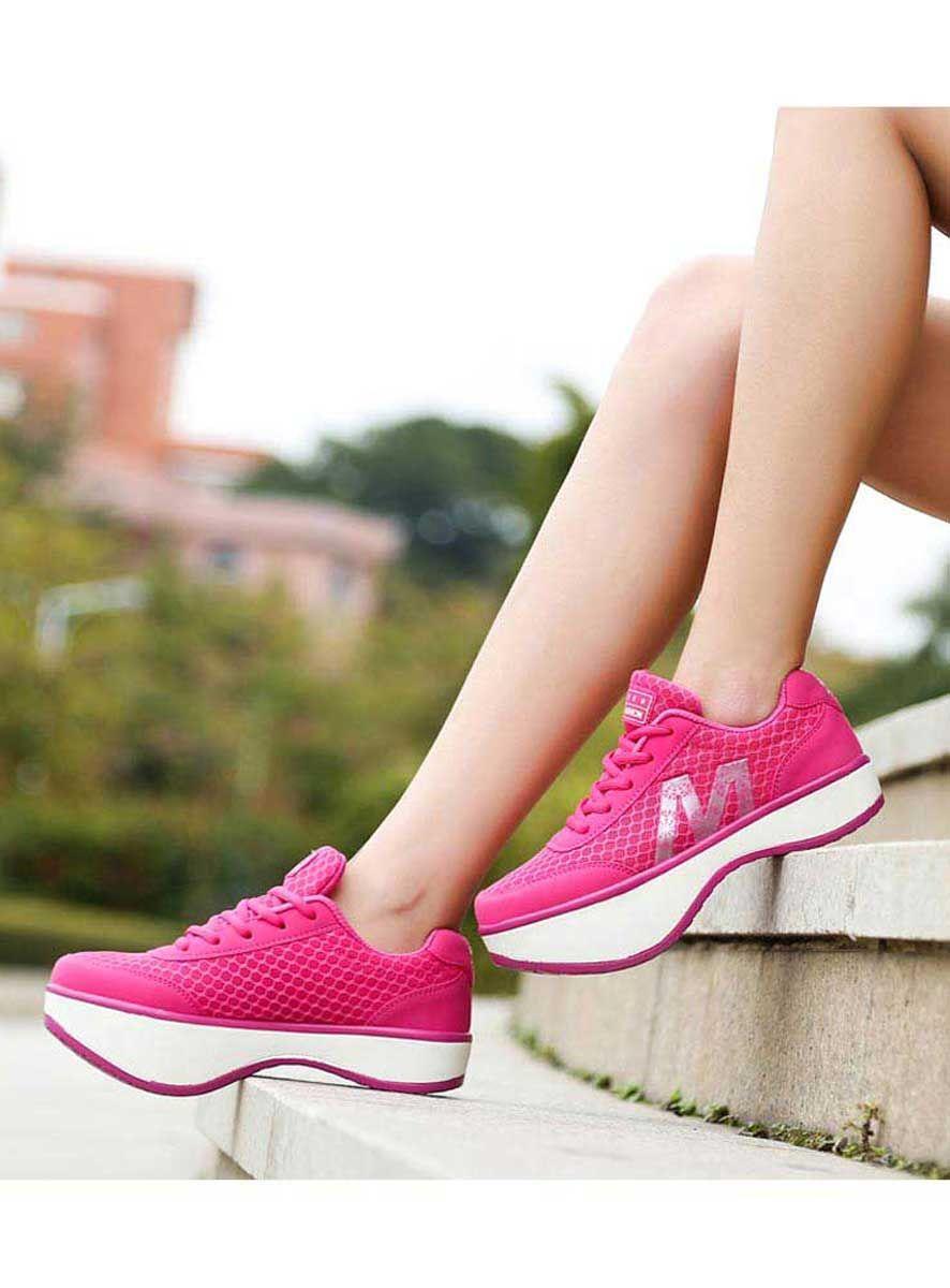 c9312527a832 Women s  red lace up negative heel  rocker sole shoe sneakers label print  design
