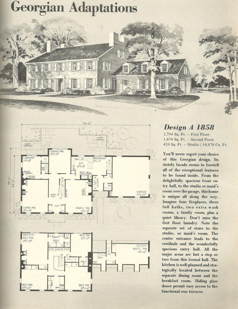 Vintage House Plans, Georgian | vintage home plans | Pinterest ...