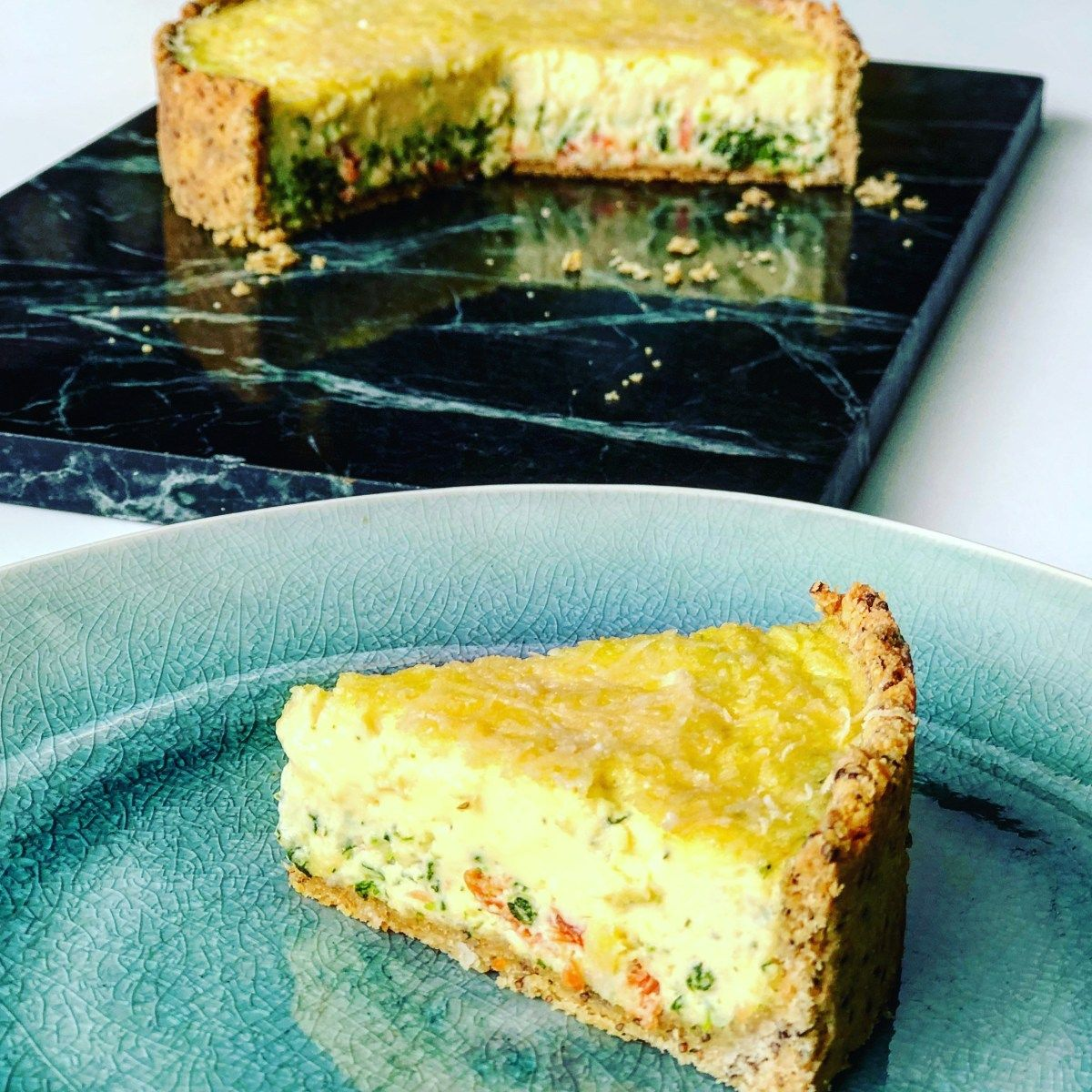 Salmon & Spinach Tart with Low Carb Pie Crust - Kate Henry ...
