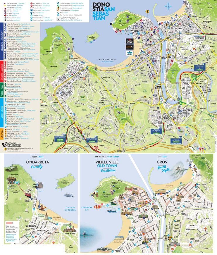 San Sebastián tourist map