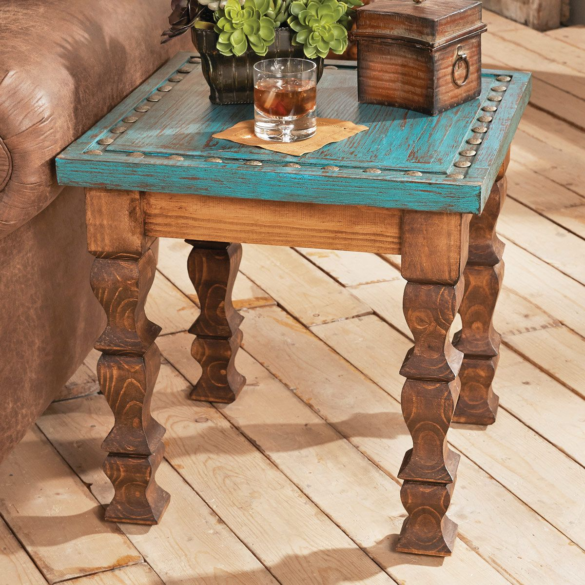 Turquoise Silver Trails End Table Western Décorwestern Stylerustic