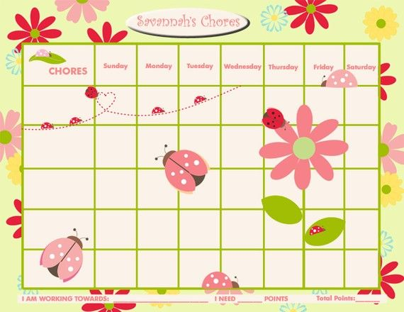 Photo of PRINTABLE Personalized Chore Chart / Reward Chart for Children –  Ladybug Love – Printable Jpeg