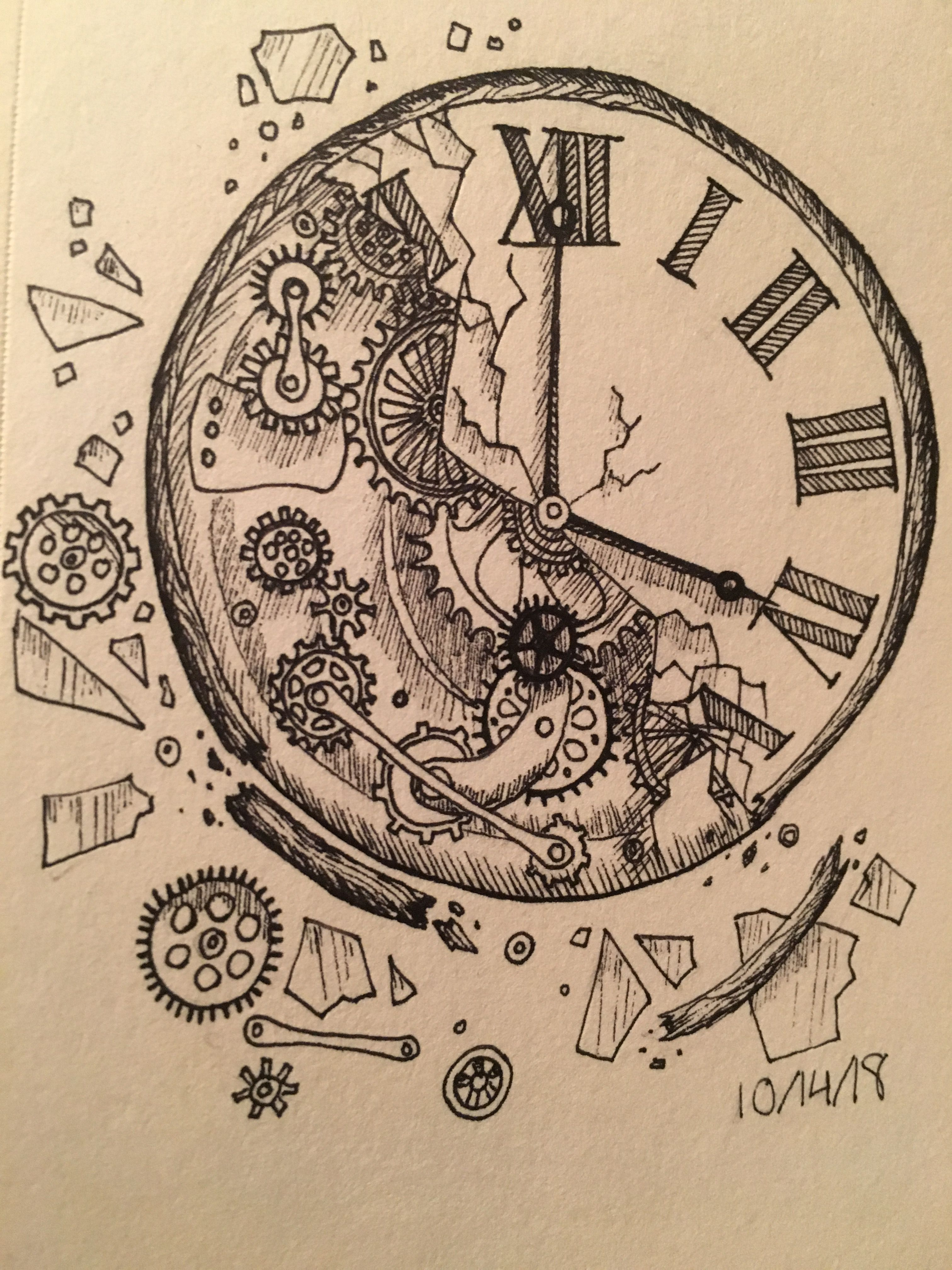 A Broken Clock For The Fourteenth Day With Images Ink Sketch