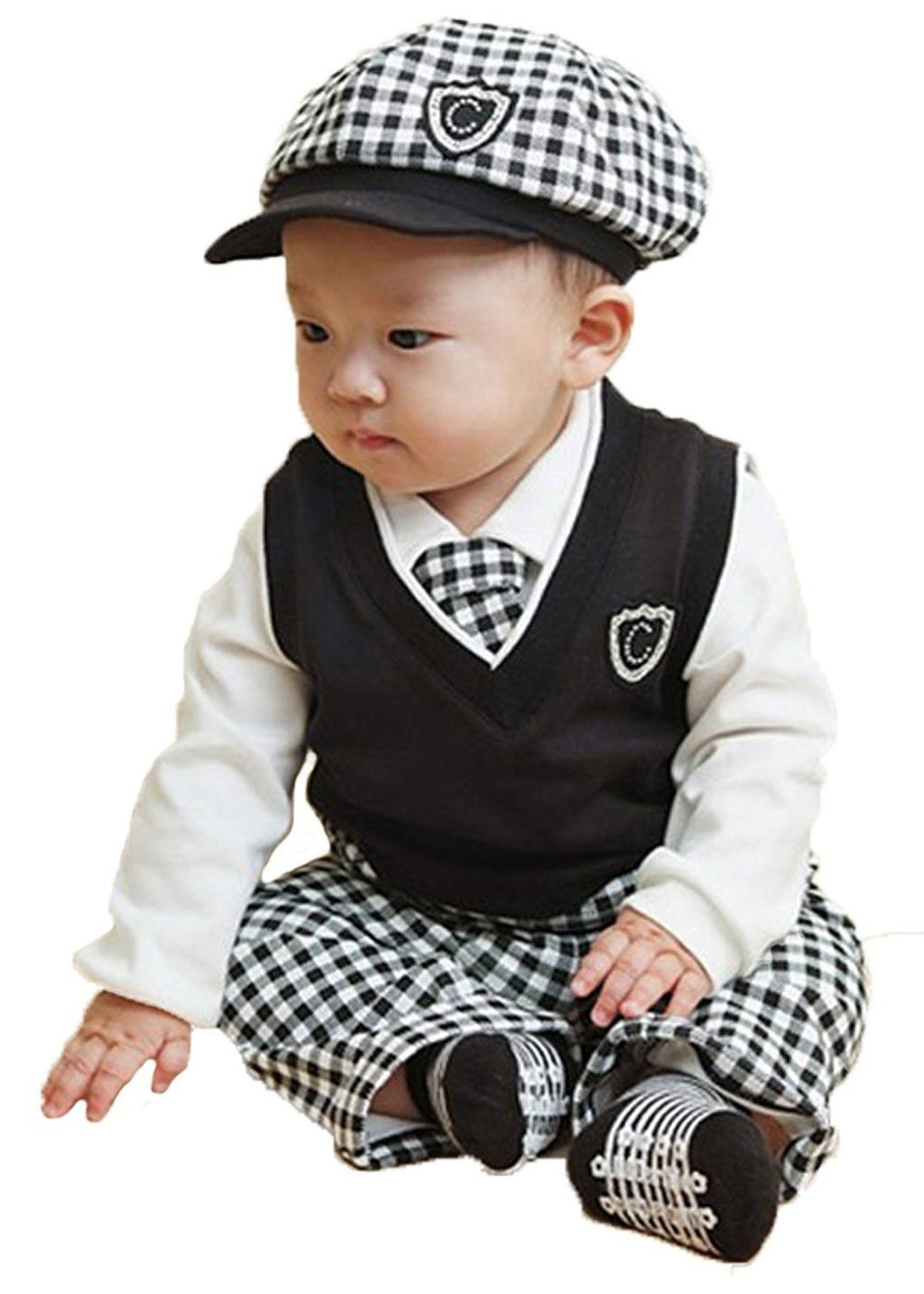 69f4dd46c97 Baby Boys Hat + Pants + White Shirt + Vest + Tie Party Baptism Clothes 5pcs  (80(Advice 6-12 month)