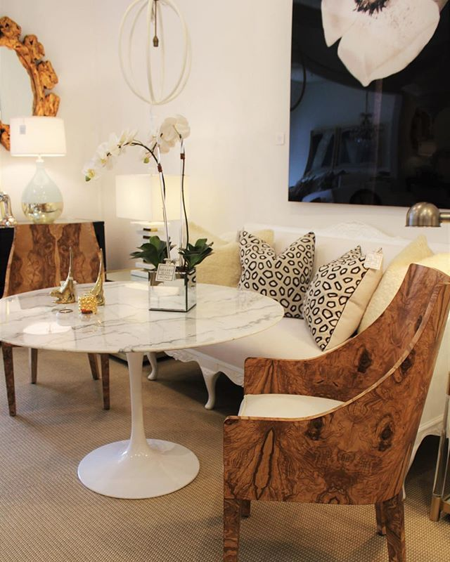 Eclectic Dining Room Pleasing Burl Wood Dining Chairs Round Marble Table Eclectic Dining Room Inspiration