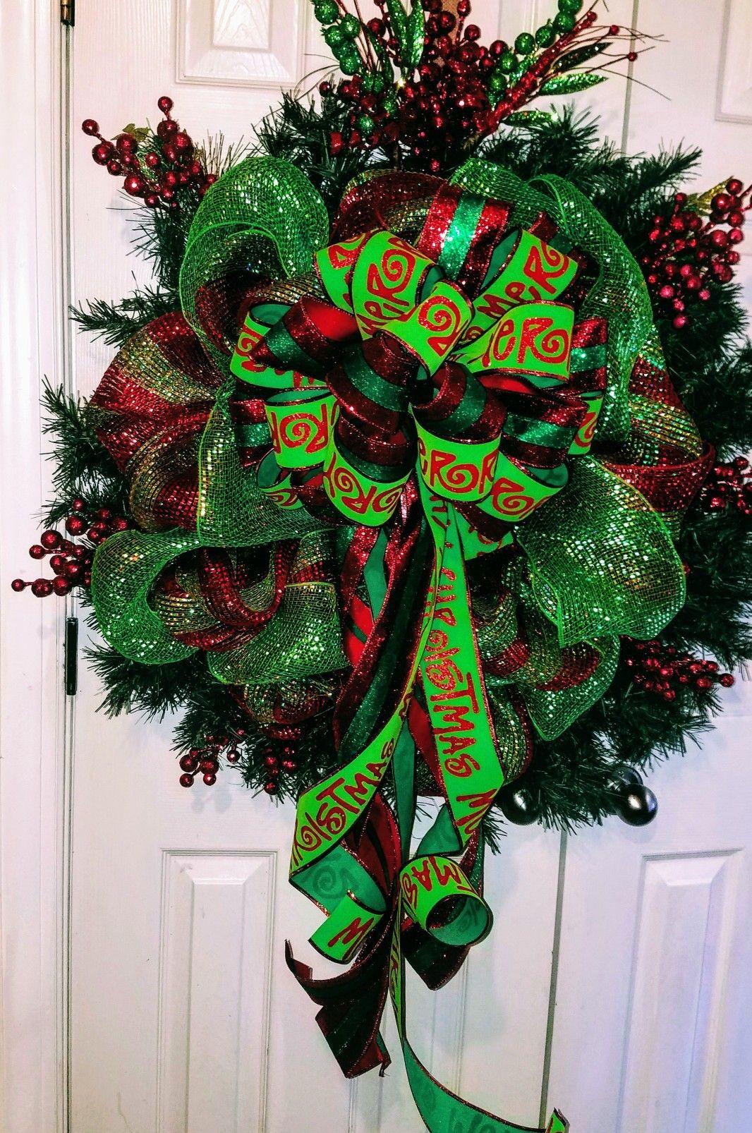 Xl Christmas Wreath by Unique Door Decor Christmas