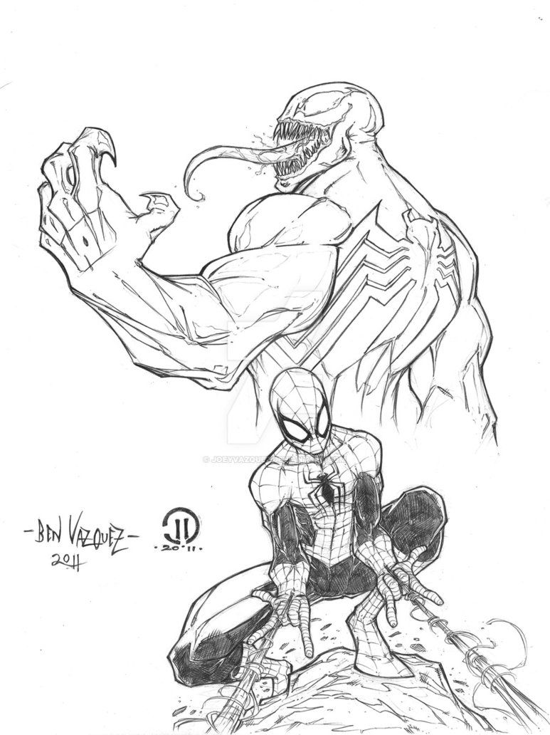 Venom and Spider-Man by Ben Vazquez | Desenhos da marvel ...