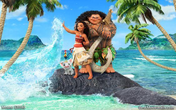 Moana giving the ocean a high five with Maui, Pua and Hei Hei :} HD here: www.bestmoviewalls.com/directo…