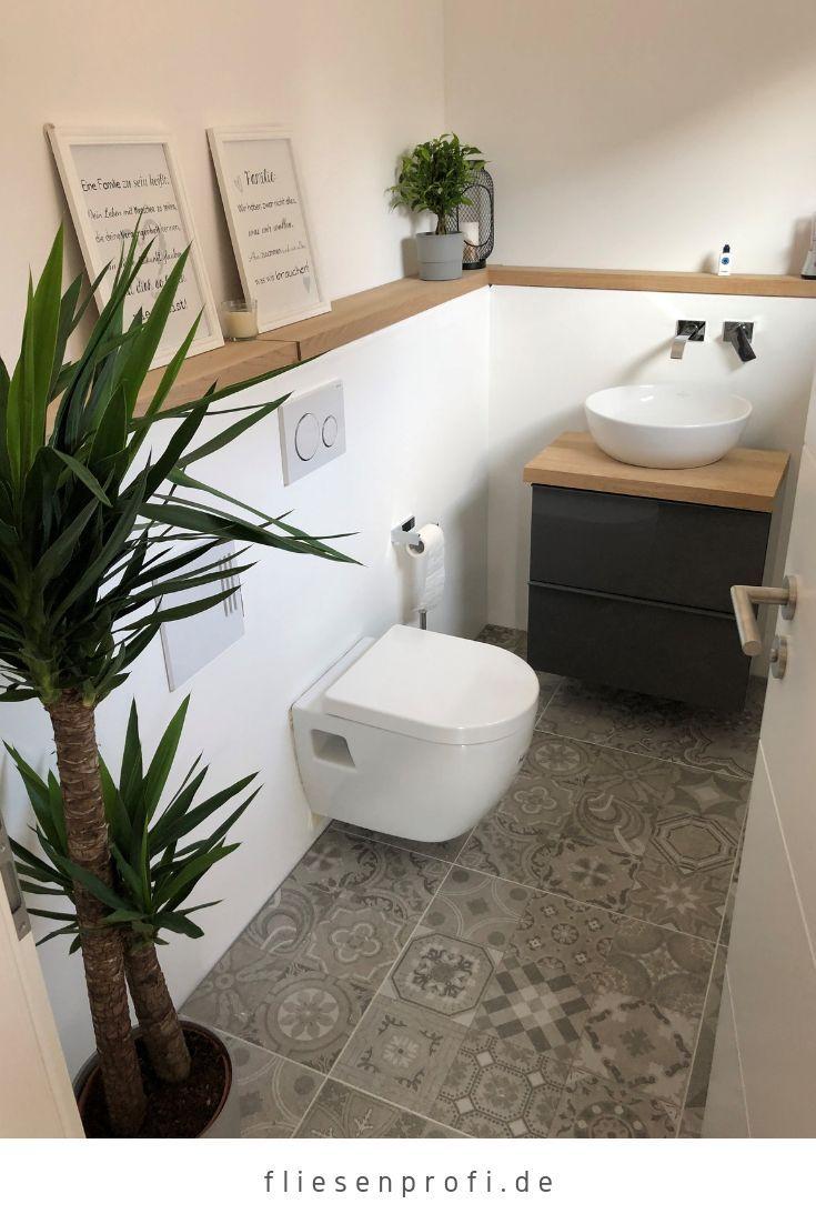 """Photo of Gästebad unserer Kunden mit der grauen Zementfliese """"Memories Focus Pearl"""" 60×60 für 34,90 € / m² – Toilettenideen"""
